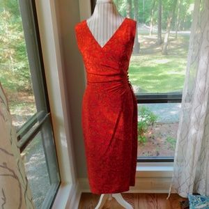 Donna Morgan silk red vneck, ruching, faux wrap